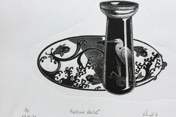 Heron Vase wood engraving